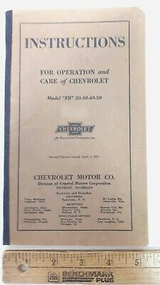 1921-22 CHEVROLET Owner's Manual - Good Condition (US)