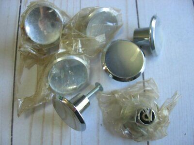 Vintage Mid Century Modern NOS Chrome Silver Drawer Pulls Cabinet Knobs Concave