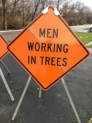 "The Econo-Pod E-350 Tripod Sign Stand with Alum Fold Sign ""Men Working in Trees"""