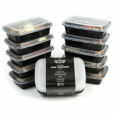 1 Compartment Reusable Food Storage Containers Set of 10 Meal Prep Free UK POST