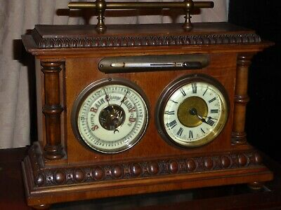 Antique Weather Mantle Clock Good Working Orde Circa 1905