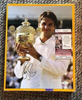 Roger Federer Signed 11 X 14 Wimbledon Photo Jsa Certified