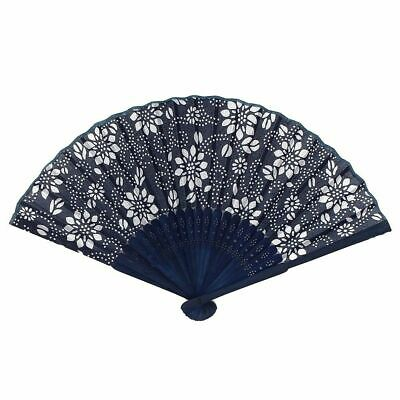 Chinese Summer Folding Hand Fan Fabric Flower Floral Favor .Party U0V4