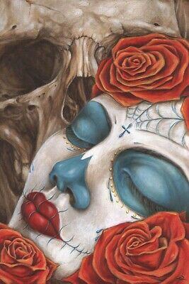 Skull & Roses by Eric Quezada Day of the Dead Sugar Skull Rose Tattoo Art Print