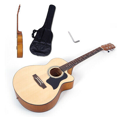 "38"" Spruce Front Cutaway Folk Guitar + Bag&Board&Wrench Tool Matte Wood Color"
