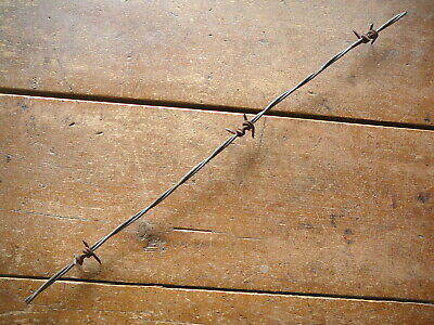 MERRILLS TWIRL LONG  BLACK BARBS on TWO  GALVANIZED LINES -  ANTIQUE BARBED WIRE