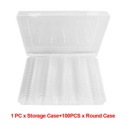 100Pcs 27mm/30mm Coin Cases Capsules Holder Clear Plastic Round-Storage-Box