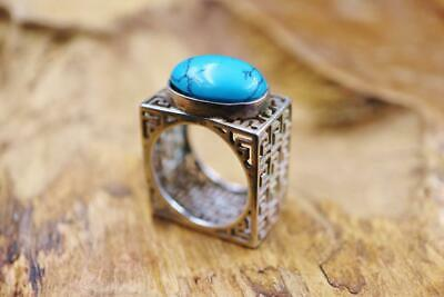Natural Stone Antique Egyptian Vintage Silver 925 Arabic/Persion Ring Band_Sz 9