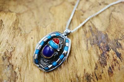 Antique Egyptian Sterling Silver Collar Pendant Necklace Chain of Scarab Beetle