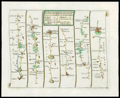 1719 - Antique Road Map LONDON to CHICHESTER Surrey Sussex Hampshire (16)