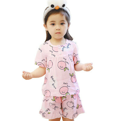 Girls Toddlers Cotton Nightie Nightwear Pjs Pyjamas Shirt+ Shorts 2Pcs Sets