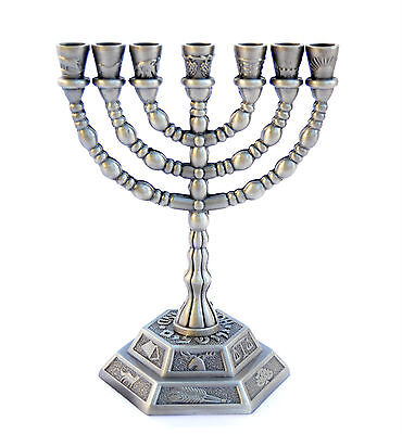 New menorah Menora Jewish israel holyland Jerusalem Tribes.Pewter color S-12.8cm