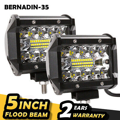 New 1/2/4Pcs 4inch 200W LED Work Light Bar Pods Flush Mount Combo Driving Lamp