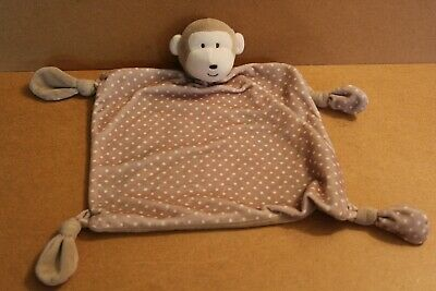 Mothercare Light Brown & Cream Monkey Blankie /Comforter Snuggle Spots Rattle