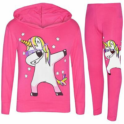 Kids Girls Rainbow Unicorn Dab Floss Pink Hooded Top Legging Set Tracksuit 7-13Y
