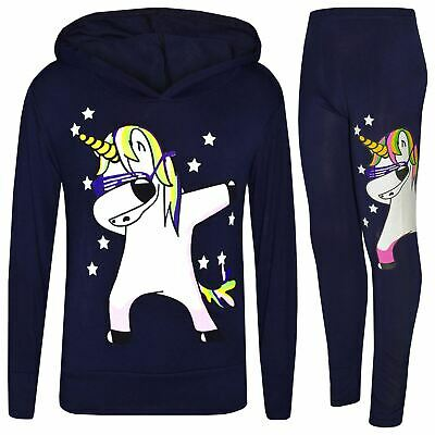 Kids Girls Rainbow Unicorn Dab Floss Navy Hooded Top Legging Set Tracksuit 7-13Y