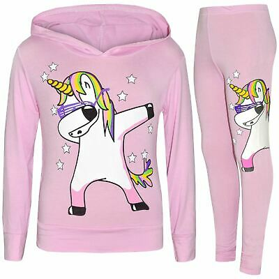 Kids Girls Rainbow Unicorn Dab Floss Baby Pink Hooded Top Legging Set Tracksuits