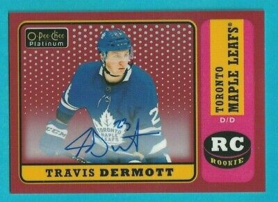 2018-19 OPC Platinum TRAVIS DERMOTT RETRO RED RAINBOW ROOKIE AUTOGRAPH #R-76