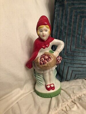 Little Red Riding Hood Antique Vintage China Doll Figurine Powder Shaker