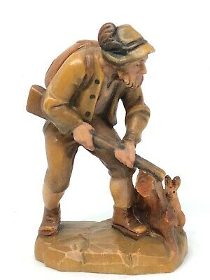 WX6 * Wood Carved Black Forest Huntsman Figure Vintage German 1960's