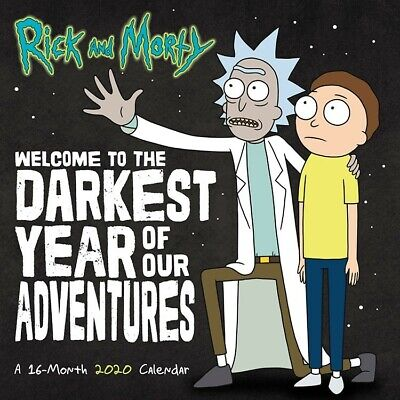 Rick and Morty Animated TV Series 16 Month 2020 Wall Calendar NEW SEALED