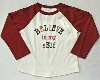 NWT Peek Little Peanut 18-24 Month Red Ivory Believe in my sElf Christmas Shirt