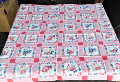 Vintage Red and White with Fruit Print Tablecloth 32x42 Inches 1950s Retro Kitch