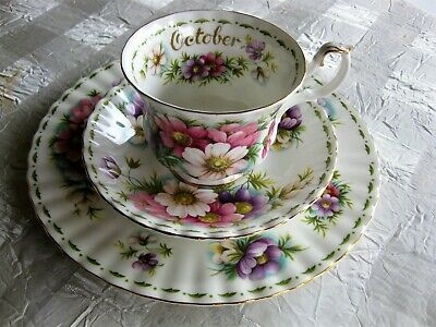 Royal Albert Flower of the Month Series OCTOBER Tea Cup Plate Trio Set COSMOS