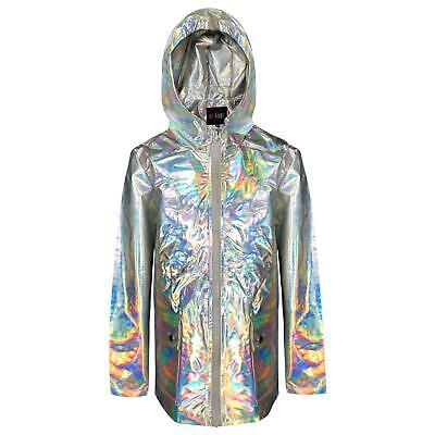 Kids Girls Holographic Shiny Raincoat Hooded Slightly Damaged Rain Mac Jackets