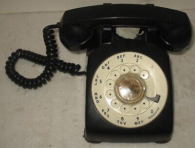 Vtg Black White Dial Bell System Western Electric Rotary Desk Phone Prop Display