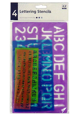 Pack 4 Lettering Stencil Set Upper Lower Case Alphabet Number Kids Craft Set