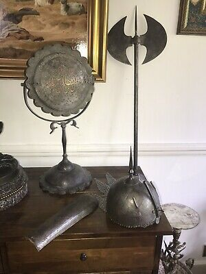Antique Islamic Ottoman Calligraphy Gilded Mirror Mughal Hat Armer Darvish Axe