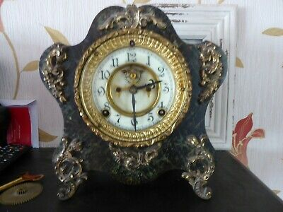 Lovely Visual Escapement  Fake Marble Ansonia Mantel Clock