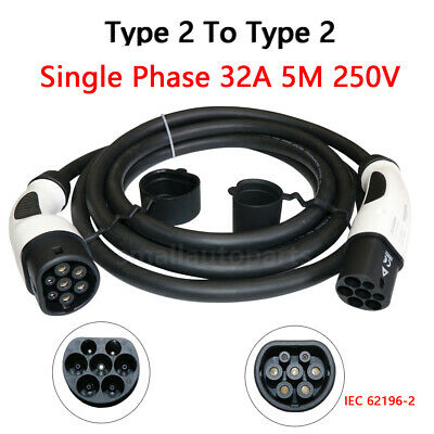 New EV Charging Plug With 5 Meter Cable 32A 415V For Leaf Fiat 500E Electric Car