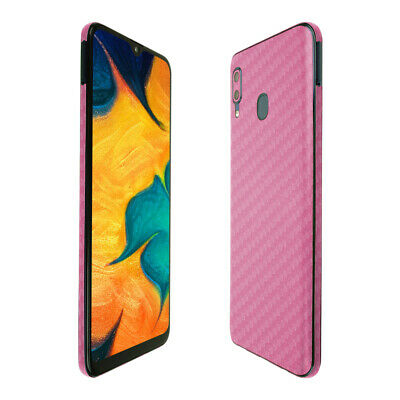 Skinomi Pink Carbon Fiber Skin Cover for Samsung Galaxy A20 [SM-A205G-DS]