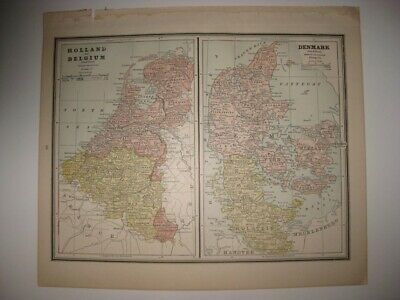 Vintage Antique 1887 Holland Belgium Denmark Spain Portugal Railroad Map Superb