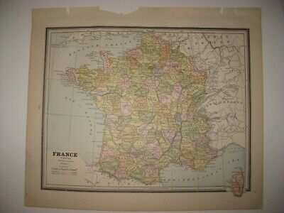 Vintage Antique 1887 France Switzerland Europe During Napoleon 1 Map Paris Wine