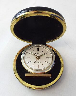 Vintage EUROPA 2 Jewels Miniature Wind Up Travel Clock - Spares/Repairs - W39