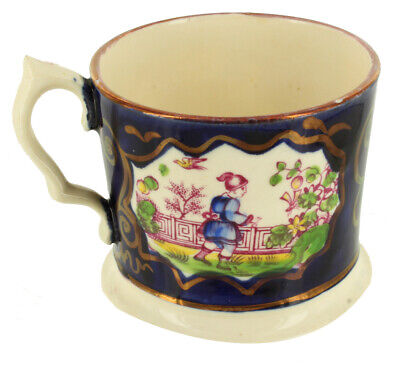 Antique Pearl ware Chinoiserie Child's Mug 1830s Coffee Can Chinese Dragons