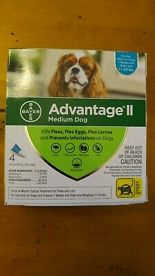 Bayer Advantage II for Medium Dogs 11-20 Lbs - 4 Pack -  FLEA TREATMENT CONTROL