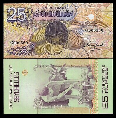Seychelles 25 Rupees ND 1983  P. 29 UNC Note Low # 000557,8,9,or 60