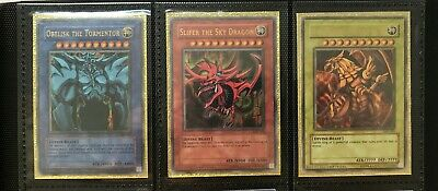 Yugioh GB1 Obelisk the Tormentor Slifer the Sky Dragon Winged Dragon of Ra Mint