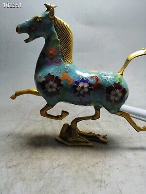 Chinese Cloisonne the antique statue of Horse Stepping on a Flying Swallow