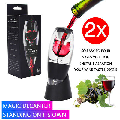 2x Magic Decanter Essential Red Wine Aerator Stand Sediment Filter Pouch ToolSet