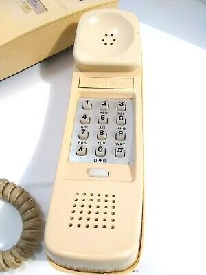 WESTERN ELECTRIC TRIMLINE Yellow Beige Push Button Desk Bell Telephone Vintage