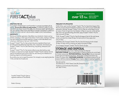 Flea Drops TevraPet FirstAct Plus And Tick Topical For Cats Over 1.5lbs, 3 Dose
