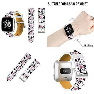For Fitbit Versa Bands Skulls Ecute Replacement Band Leather Strap Smartwatch WH