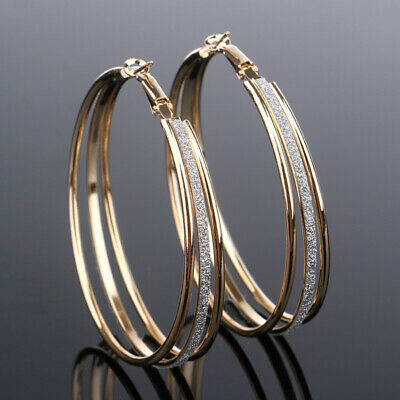 Punk Rock Minimalist Silver Thick Tube Big Gold Alloy Round Circle Hoop Earrings