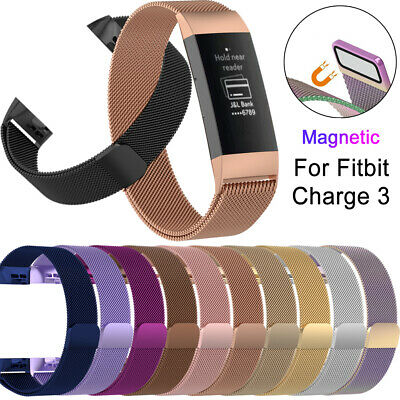 Band Magnetic Milanese Strap Stainless Steel Wristband For Fitbit Charge 3