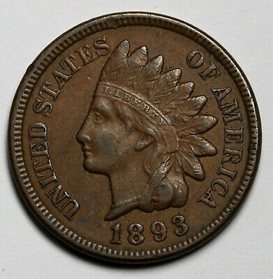 1893 US  Indian Head Cent Bronze Coin KM# 90a
